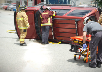 emergency team on the road, car accident vehicle damage crash rescue accident