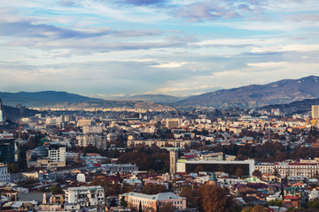 Beautiful view of the cityscape on a clear autumn day. 2018, Tbilisi, Georgia.