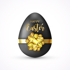 Happy Easter lettering tag. Easter Egg tied of gift bow. Eggs Hunt. Cute holiday sticker for ad, promotion, poster, flyer, web-banner, article