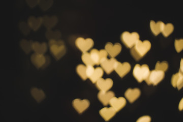 Heart shaped bokeh in the Valentines Day concept.