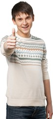 Young man giving a thumbs up