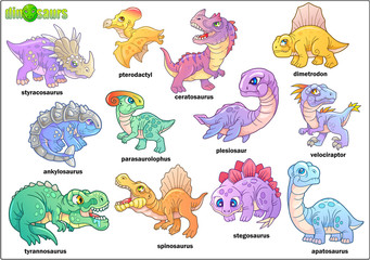 Cartoon cute prehistoric dinosaurs, set of images, funny illustration
