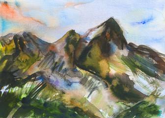 Dipinto acquerello monte verde