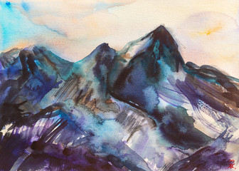 Acquerello pittura bella montagna