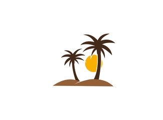Palms in desert with sun and sand logo