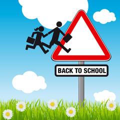 Concept humoristique de la rentrée des classes avec comme symbole le dessin de deux enfants rejoignant le panneau de signalisation : attention école