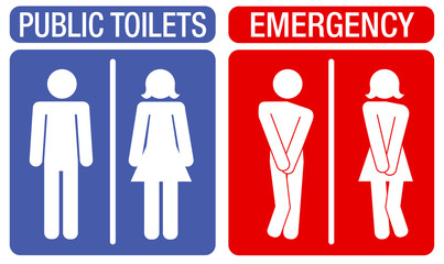 Concept of humorous signboards indicating toilets with an illustration showing a man and a woman with an urge to urinate.