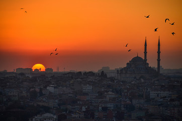 Blue Mosque and Hagia Sophia in Istanbul at sunset
