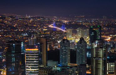 Fototapete - Night panoramic view of Istanbul, Turkey