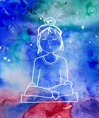 meditation illustration watercolor universe