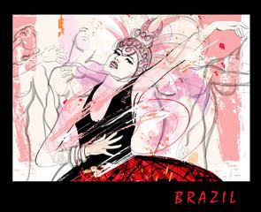 Tuinposter Art Studio Brazilian dancers