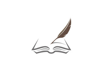 Qill writing in the papers on an open book, Feder, Buch logo