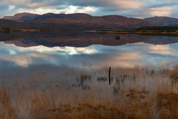 Morning reflections in Loch Sheil, Argyll and Bute, Scotland.