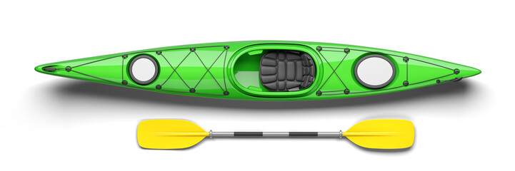 Green kayak and oar on top view 3D