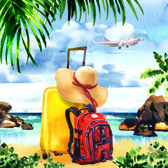 Travel bag with straw hat and backpack on paradise island with palm trees, rocks, flying airplane on sky, summer time, vacation and travel concept, hand drawn watercolor illustration