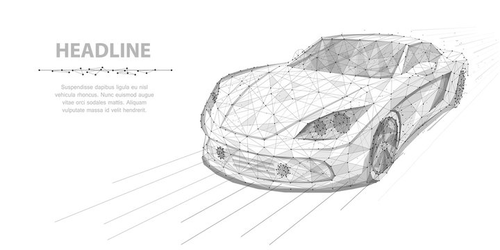 Car. Vector polygonal wireframe high speed motion car isolated on white illustration. Abstract background.