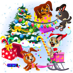 Cartoon sign we wish you merry christmas and happy new year