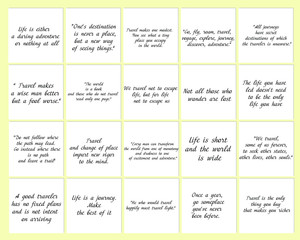 Set of 20 vector  Travel Adventure Quotes. Ready to post in social media, brochure, magazine.