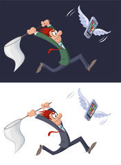 Funny сartoon businessman trying to catch mobile phone.