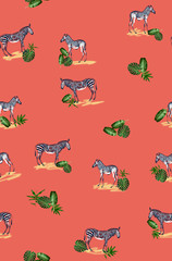 Seamless pattern with wild animal zebra print, silhouette on coral background.Seamless tropical monstera, palm, banana, bamboo leaves and flowers pattern, jungle print design.