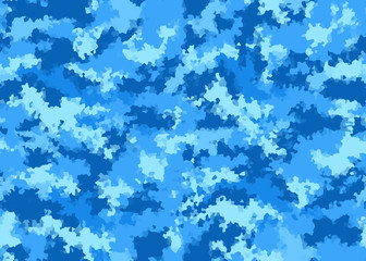 Seamless, abstract, camouflage background in blue and white shades.