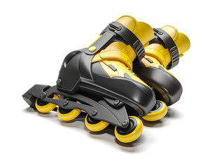 Black & yellow rollerblades 3D