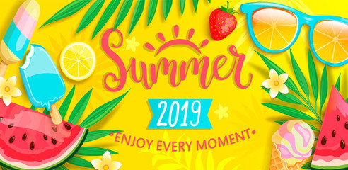 Summer banner with symbols for summertime such as ice cream,watermelon,strawberries,glasses.Hand drawn lettering for template card, wallpaper,flyer,invitation, poster,brochure.Vector illustration Fotomurales