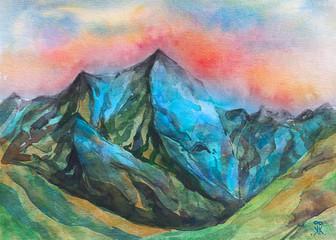 dipinto bello acquerello montagna cima