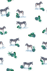Seamless pattern with wild animal zebra print, silhouette on white background.Seamless tropical monstera, palm, banana, bamboo leaves and flowers pattern, jungle print design.