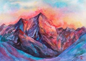 dipinto mattina in montagna cima acquerello