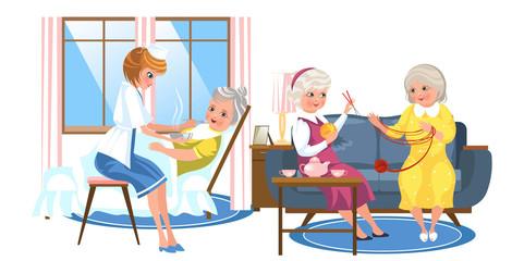 Cartoon image of nice old people resting in rooms