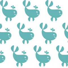 Seamless pattern with cartoon funny white blue whales on white background. Marine background.