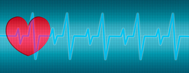 Heart Beats, Heart ECG, curves in diagram
