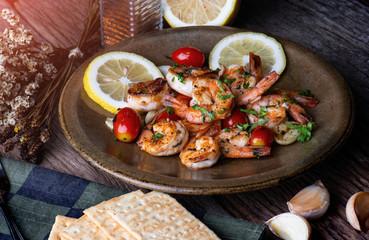 Grilled shrimps prawn with seasoning.