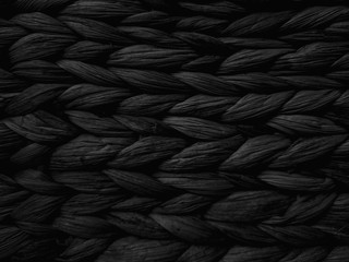 Dark black Abstract woven mat texture Wickerwork background