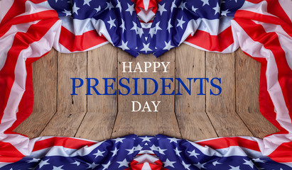 Happy Presidents' Day text on wooden with flag of the United States Border