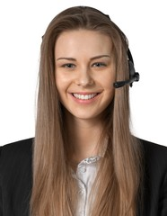 smiling young woman wearing a headset