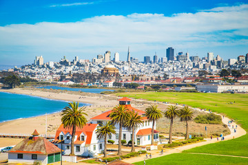 Canvas Prints San Francisco San Francisco skyline with Crissy Field, California, USA
