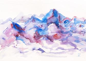 dipinto acquerello montagna viola cime