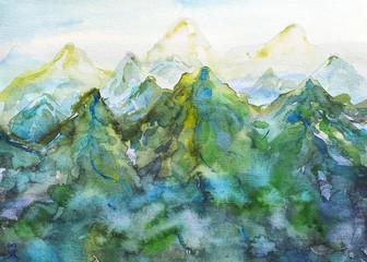dipinto acquerello montagna verde bella