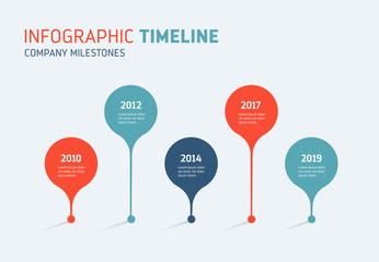 Timeline Infographics - Annual Diagram Wall mural