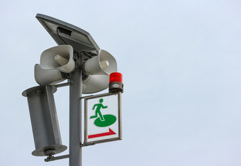 Japanese tsunami alert siren speaker system sign to introducing to saft zone.