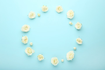 White rose flowers on blue background