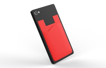 BLANK PHONE WALLET AND CARD HOLDER KIT. 3D RENDER ILLUSTRATION.