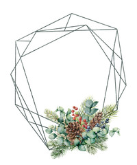 Watercolor polygonal frame with winter composition. Hand drawn modern floral label with eucalyptus leaves and fir branch, pine cones isolated on white background. Greeting template for design, print