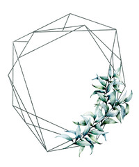Watercolor polygonal frame with eucalyptus. Hand drawn modern floral label with eucalyptus leaves and branches isolated on white background. Wedding, greeting template for design, print
