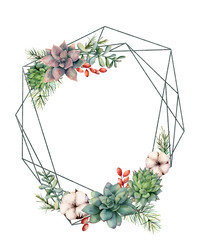 Watercolor polygonal frame with succulents and eucalyptus. Hand drawn modern floral label with eucalyptus leaves and branches isolated on white. Wedding, greeting template for design, print