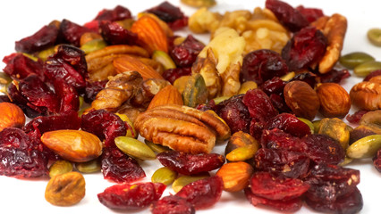 Dried Cranberry and variety of nuts healthy snack