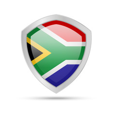 Shield with South Africa flag on white background. Vector illustration.
