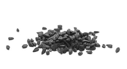 black cumin seeds macro isolated on white background